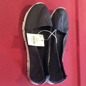 New SO grey fabric upper slip on shoes size 8
